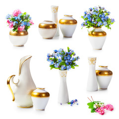 Vases and forget me not flowers