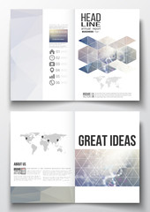 Set of business templates for brochure, magazine, flyer, booklet or annual report. DNA molecule structure on a blue background. Science vector.