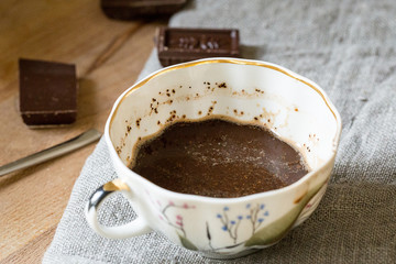 Black Coffee in Cup with Dark Chocolate Pieces