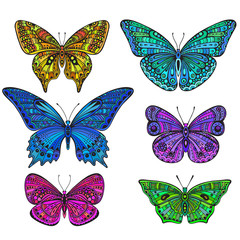Set of six ornate doodle butterflies isolated on white background