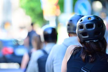 Fototapete - Woman with helmet biking
