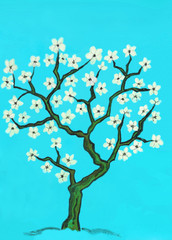 Spring tree in blossom, painting