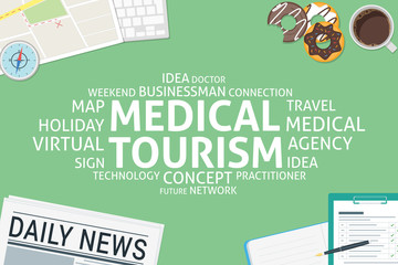 vector medical tourism concept,template