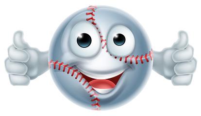 Cartoon Softball Ball Man Character