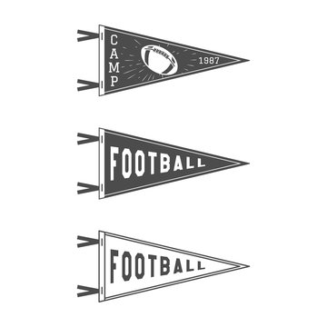 College Football Pennant Flags Set. Vector Football pendant Icons. University USA Sport flag, isolated. Training camp emblem. Soccer label element. Monochrome design template. Vector sign