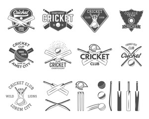 Set of vector cricket sports logo designs. Cricket icons vector set. Cricket emblems design elements. Sporting tee designs. Cricket club badges. Isolated cricket gear, equipment for web or t-shirt