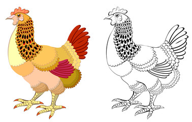 Colorful and black and white pattern hen, vector cartoon image.