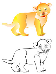 Colorful black and white pattern of little lion, vector cartoon image.