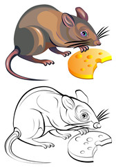 Colorful black and white pattern of rat, vector cartoon image.