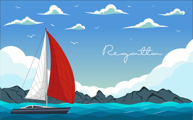 Yacht regatta. Vector illustration