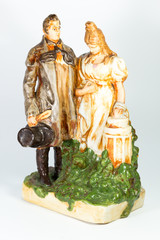 porcelain pair of 19th century on white background