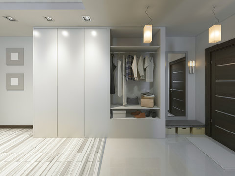 Hall with a corridor in Contemporary style with a wardrobe and a