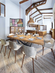 Dining room with a modern country-style kitchen.