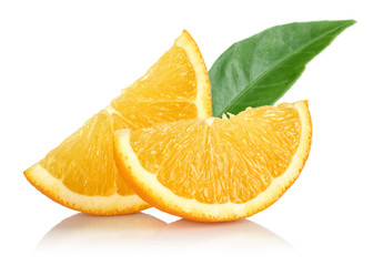 Sliced Oranges with leaf