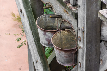 Two rusty bucket inside the attraction, Big Thunder Mountain in Disneyland Paris