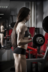 Young sexy fitness girl workout with barbell in the gym. Brunette fitness woman in sport wear with perfect muscular body