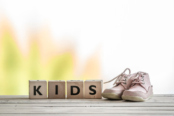 Kids sign and cute shoes