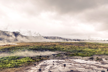 Geothermal activity in a landscape from Iceland