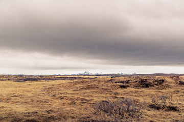 Dark clouds over a landscape in Iceland