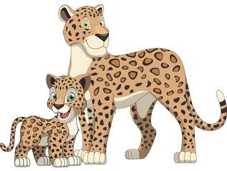 Lepard adult and cub