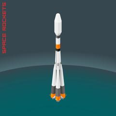 Isometric illustration russian space rocket souz