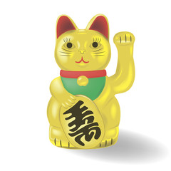Maneki neko, golden cat. Lucky cat. Vector illustration.
