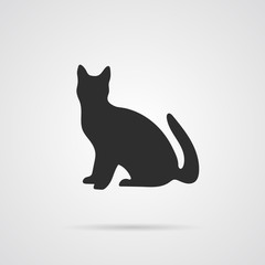 Vector Gray Silhouette of Cat