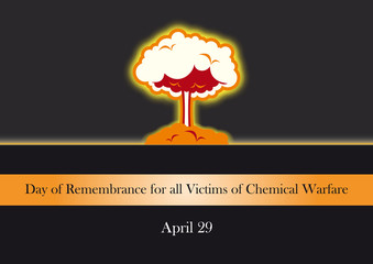 Day of Remembrance for all Victims of Chemical Warfare. Vector illustration of explosion
