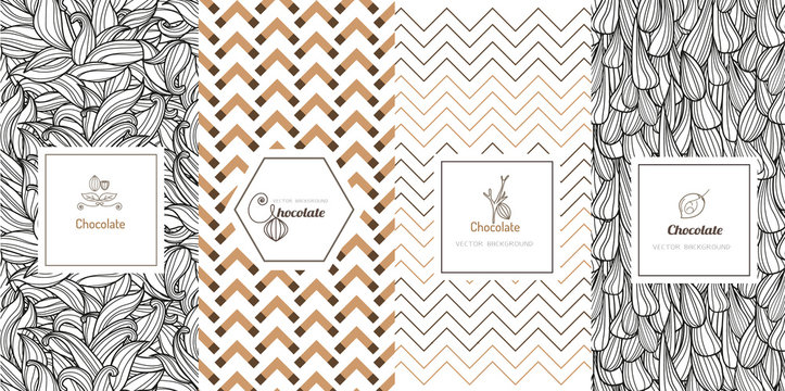 Vector set of design elements and icons in trendy linear style for chocolate package