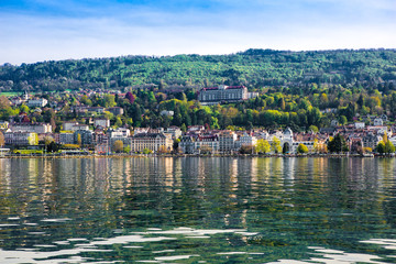 Canvas Prints City on the water Evian dal Lago