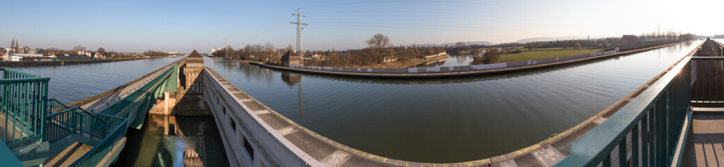 waterway crossing minden germany high definition panorama