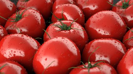 Illustration background of a lot of tomatoes revolves render 3D