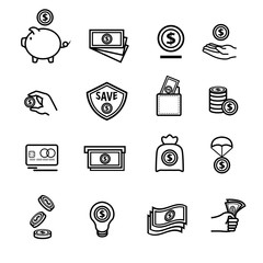 Saving money icons set, The set of money