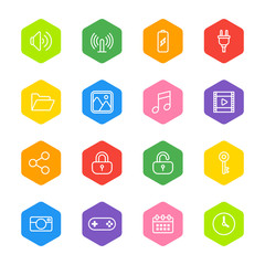 white line web icon set on colorful hexagon for web design, user interface (UI), infographic and mobile application (apps)