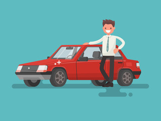 Happy motorist near his car. Vector illustration