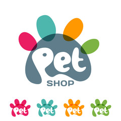 Vector logo, emblem, label design elements for pet shop, zoo shop, pets care and goods for animals. Hand drawn lettering in paw shape. Pet store signboard concept with.