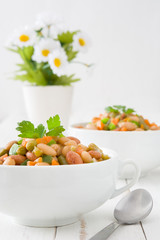 White beans with vegetables in a bowl