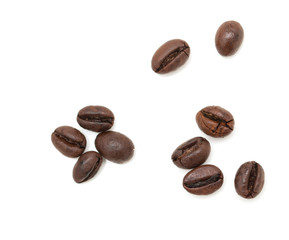 roasted coffee beans on a white background