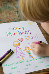 Child Coloring Happy Mother's Day Card