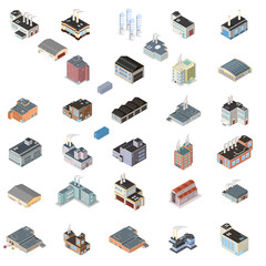 Illustration Vector Isometric industrial building icon set.