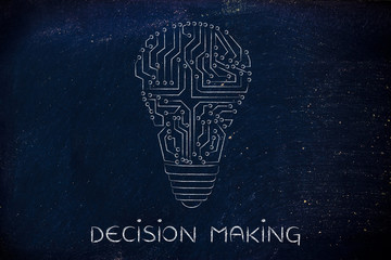 lightbulb made of electronic circuits, decision making