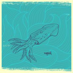 squid on wave background. vactor hand drawn illustration