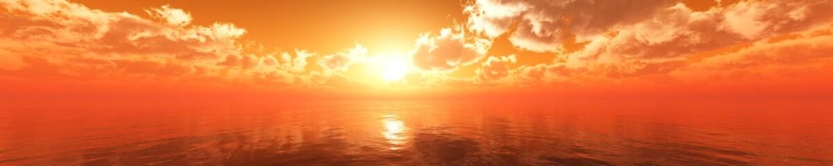 In de dag Oranje eclat Panorama of sea sunset, sunrise. Baner.