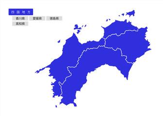 イラスト素材「四国地方のエリアマップ」