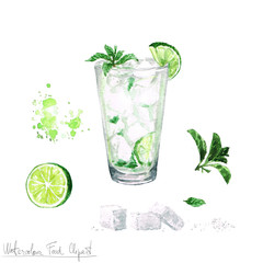 Watercolor Food Clipart - Mojito
