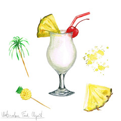 Watercolor Food Clipart - Pina Colada