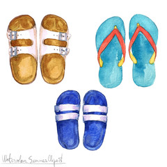 Watercolor Summer Clipart - Flipflops