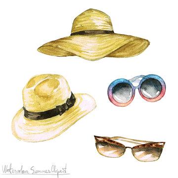 Watercolor Summer Clipart - Hats and Shades