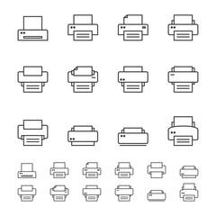 Print icons.Line icon set.