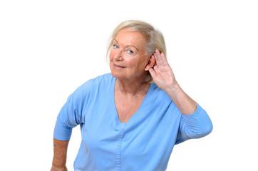 Hard of hearing attractive elderly woman
